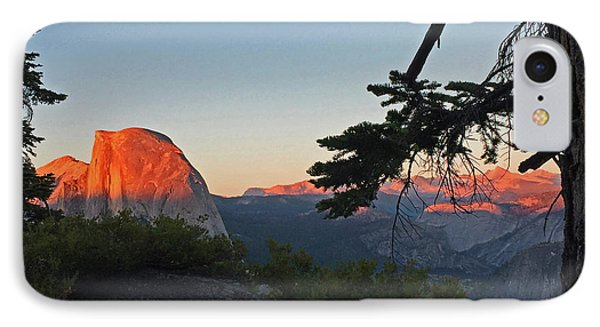 IPhone Case featuring the photograph Half Dome - Sunset On A Bright Day by Walter Fahmy