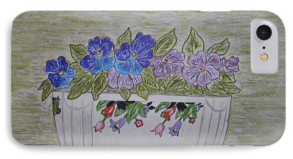 IPhone Case featuring the painting Hall China Crocus Bowl With Violets by Kathy Marrs Chandler