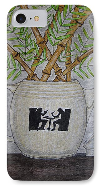 IPhone Case featuring the painting Hall China Silhouette Pitcher With Bamboo by Kathy Marrs Chandler