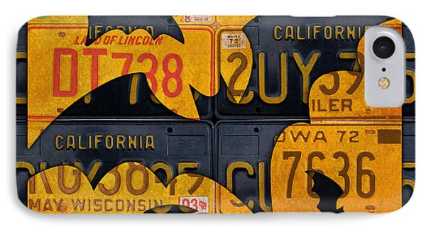 Halloween Bats Recycled Vintage License Plate Art IPhone Case