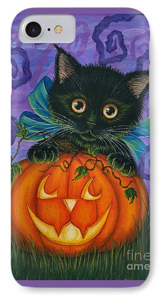 IPhone Case featuring the painting Halloween Black Kitty - Cat And Jackolantern by Carrie Hawks