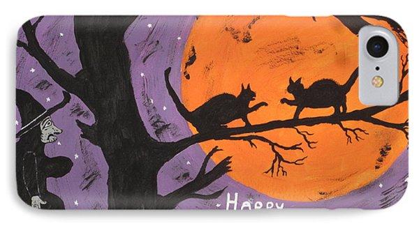 Halloween Cat Fight Phone Case by Jeffrey Koss
