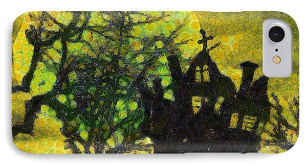 Halloween Haunted House IPhone Case by Sarah Kirk
