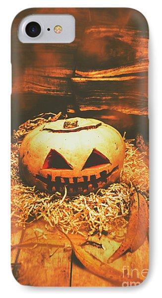 Halloween In Fall. Still Life Pumpkin Head IPhone Case by Jorgo Photography - Wall Art Gallery