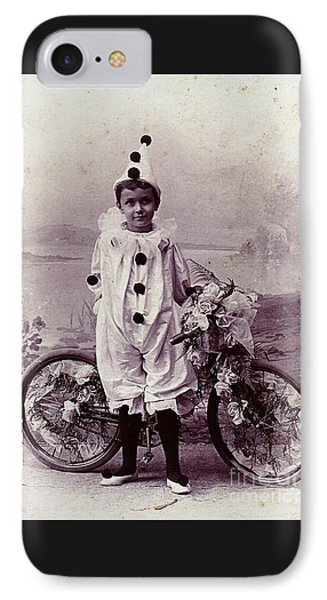 Halloween Pierrot Boy With Antique Bicycle Circa 1890 IPhone Case by Peter Gumaer Ogden