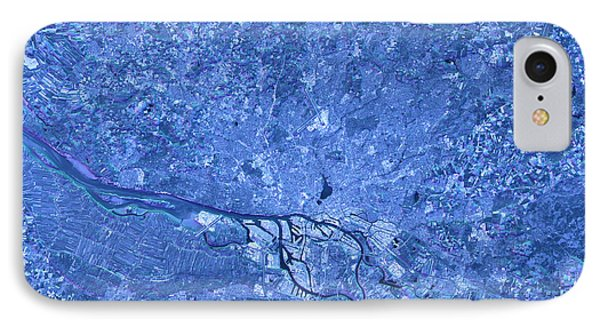 Hamburg Abstract City Map Satellite Image Blue IPhone Case