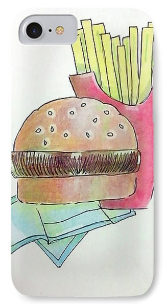 Hamburger With Fries Phone Case by Loretta Nash