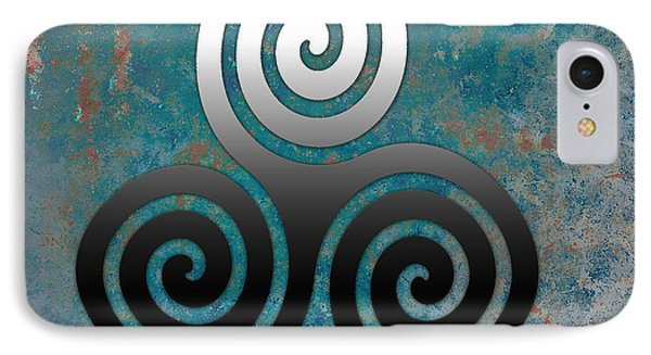 IPhone Case featuring the digital art Hammered Metal Triple Spiral by Kandy Hurley