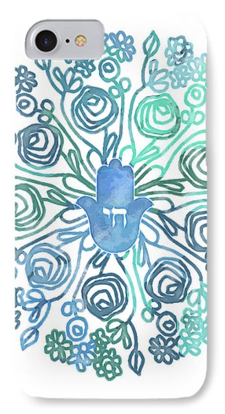 Hamsa Mandala 1- Art By Linda Woods IPhone Case by Linda Woods