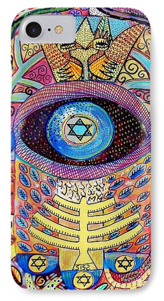 -hamsa Menorah Tree Of Life - Bright Lights  IPhone Case by Sandra Silberzweig
