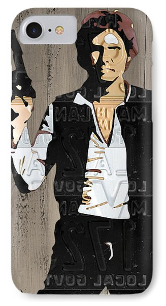 Han Solo Vintage Recycled Metal License Plate Art Portrait On Barn Wood IPhone Case by Design Turnpike