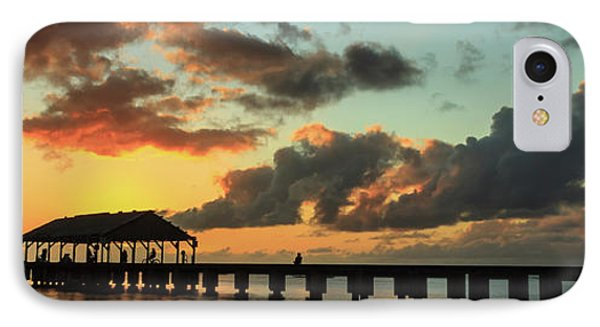 Hanalei Pier Sunset Panorama IPhone Case