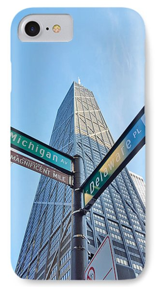 Hancock Building With Street Signs IPhone Case by Matthew Bamberg