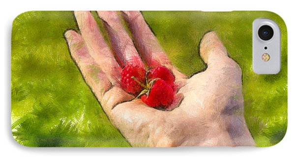 Hand And Raspberries - Pa IPhone Case