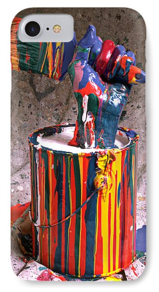 Hand Coming Out Of Paint Can Phone Case by Garry Gay