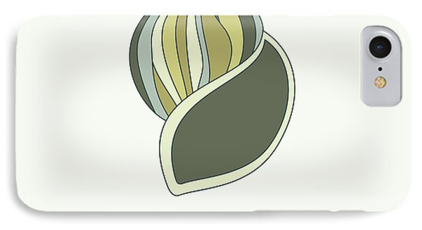 Hand Drawn Shell In Green IPhone Case by Jane Rix