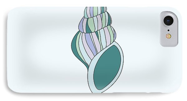 Hand Drawn Shell In Turquoise IPhone Case by Jane Rix