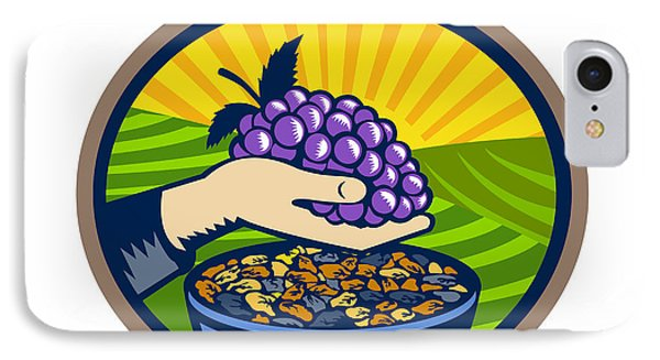 Hand Holding Grapes Raisins Oval Woodcut IPhone Case