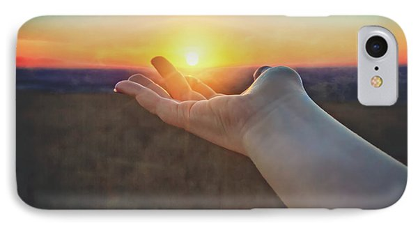 IPhone Case featuring the photograph Hand Holding Sun - Sunset At Lapham Peak - Wisconsin by Jennifer Rondinelli Reilly - Fine Art Photography