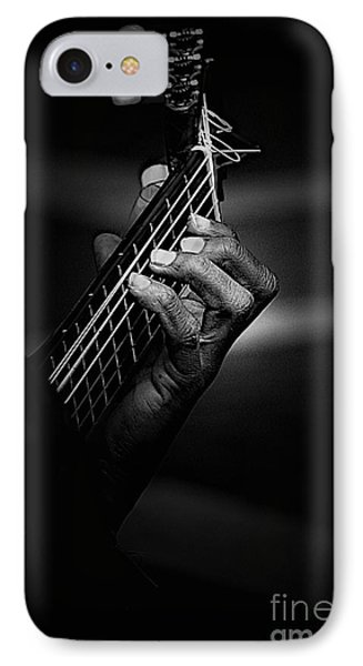 Hand Of A Guitarist In Monochrome IPhone Case by Avalon Fine Art Photography