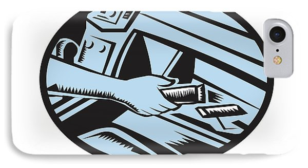 Hand Reaching In Glove Box For Energy Bar Oval Woodcut IPhone Case