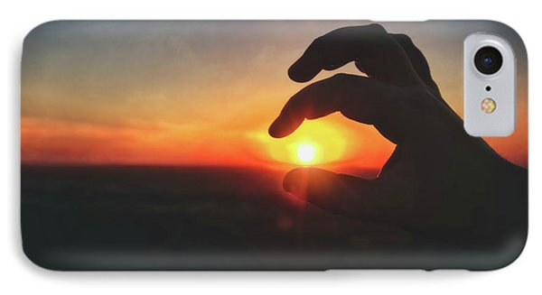 IPhone Case featuring the photograph Hand Silhouette Around Sun - Sunset At Lapham Peak - Wisconsin by Jennifer Rondinelli Reilly - Fine Art Photography