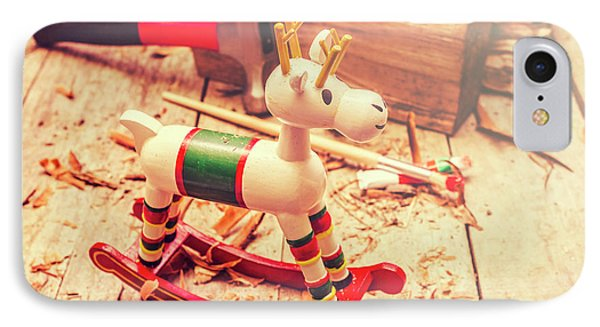 Handmade Xmas Rocking Toy IPhone Case by Jorgo Photography - Wall Art Gallery