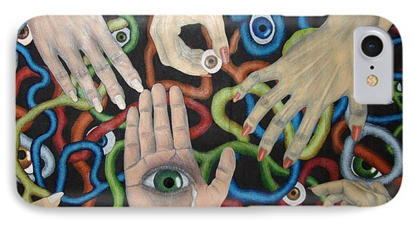 Hands And Eyes IPhone Case by Nancy Mueller