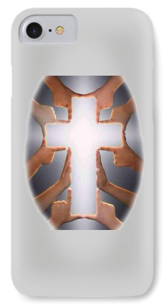Hands Cross T-shirt IPhone Case by Herb Strobino