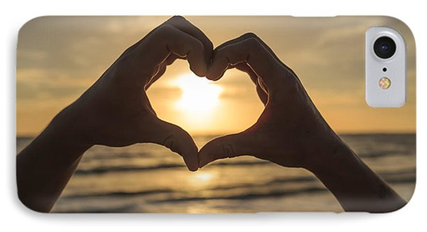 Hands Forming Heart Around Sunset IPhone Case by Edward Fielding