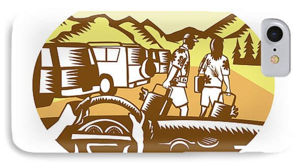 Hands On Wheel Tourist Mountain Oval Woodcut IPhone Case
