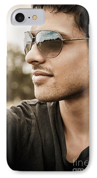 Handsome Male Model In Fashionable Sunglasses IPhone Case by Jorgo Photography - Wall Art Gallery