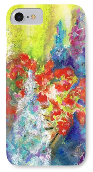 IPhone Case featuring the painting Hanging With The Delphiniums  by Frances Marino