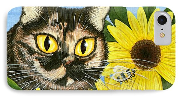Hannah Tortoiseshell Cat Sunflowers IPhone Case by Carrie Hawks