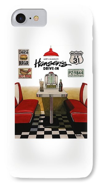 IPhone Case featuring the painting Hansen's Drive-in by Ferrel Cordle