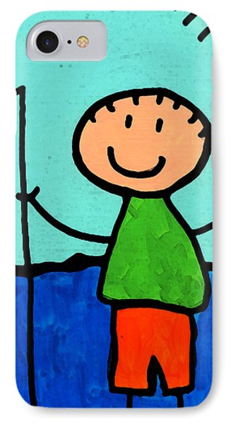 Happi Arte 2 - Boy Fish Art IPhone Case by Sharon Cummings