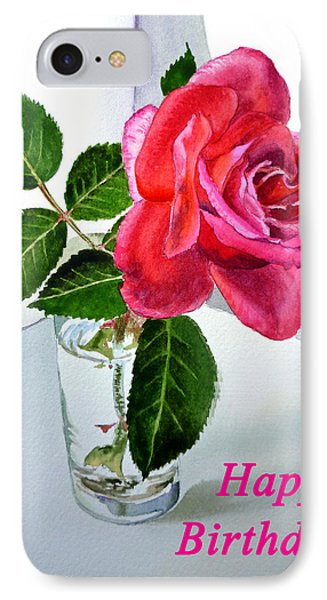 Happy Birthday Card Rose  IPhone Case by Irina Sztukowski