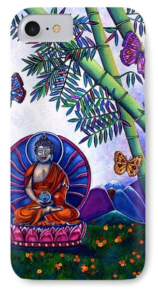 Happy Buddha And Prosperity Bamboo IPhone Case by Lori Miller