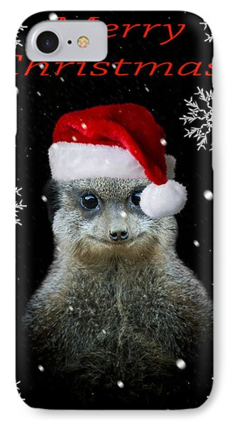 Meerkat iPhone 7 Case - Happy Christmas by Paul Neville
