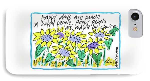 Happy Days W Blue IPhone Case by Sally Huss