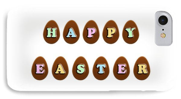 IPhone Case featuring the digital art Happy Easter Chocolate Eggs by Shelley Neff