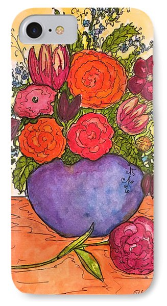 IPhone Case featuring the painting Happy Flowers by Rae Chichilnitsky