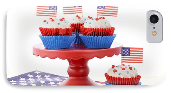 Happy Fourth Of July Cupcakes On Red Stand IPhone Case by Milleflore Images