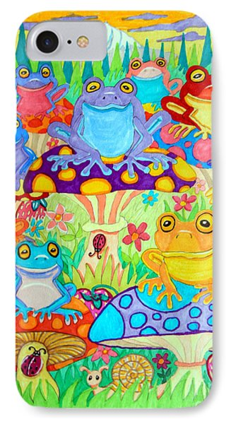 Happy Frogs In Mushroom Valley IPhone Case