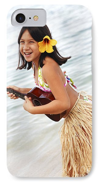 Happy Girl With Ukulele Phone Case by Brandon Tabiolo - Printscapes