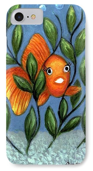 IPhone Case featuring the painting Happy Goldfish by Sandra Estes