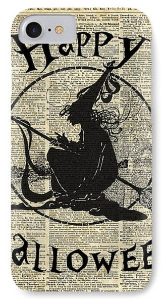 Happy Halloween Witch With Broom Dictionary Artwork IPhone Case by Jacob Kuch