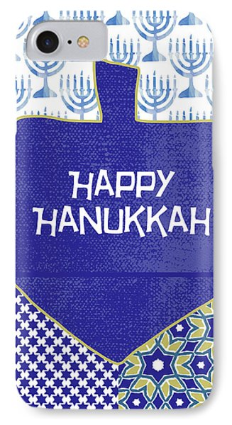 Happy Hanukkah Dreidel 1- Art By Linda Woods IPhone Case by Linda Woods