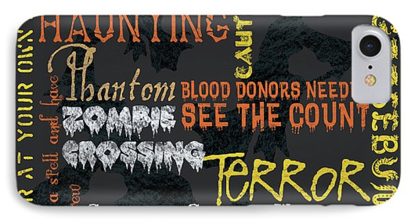 Happy Haunting Typography IPhone Case by Debbie DeWitt