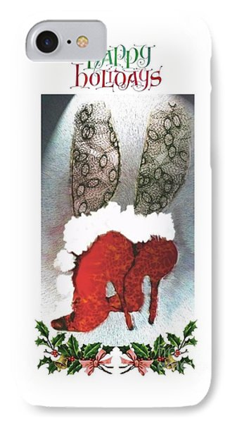 IPhone Case featuring the digital art Happy Holidays - Christmas Card by Carolyn Weltman